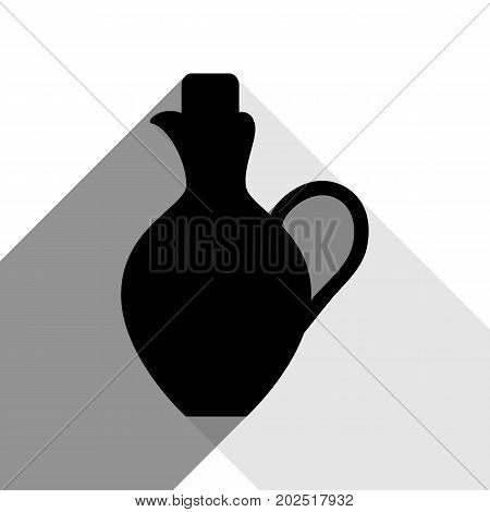 Amphora sign illustration. Vector. Black icon with two flat gray shadows on white background.