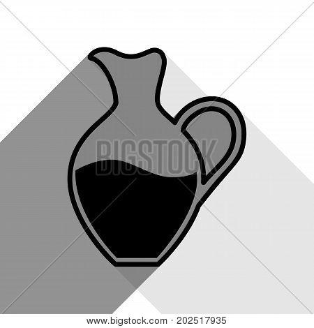 Amphora sign. Vector. Black icon with two flat gray shadows on white background.