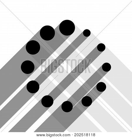 Circular loading sign. Vector. Black icon with two flat gray shadows on white background.