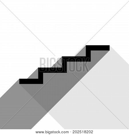 Stair up sign. Vector. Black icon with two flat gray shadows on white background.