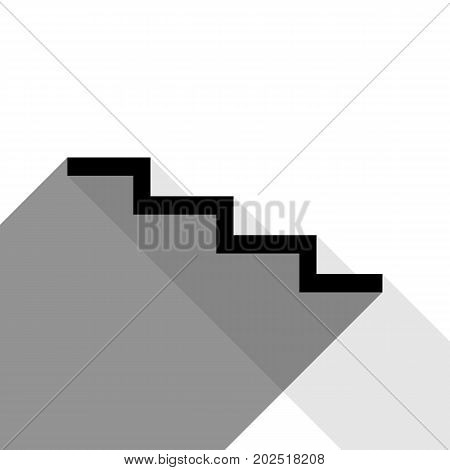 Stair down sign. Vector. Black icon with two flat gray shadows on white background.