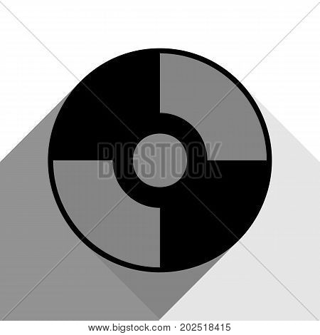 Vector CD or DVD sign. Vector. Black icon with two flat gray shadows on white background.