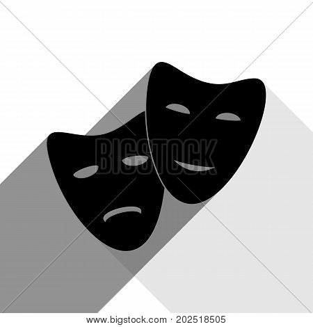 Theater icon with happy and sad masks. Vector. Black icon with two flat gray shadows on white background.