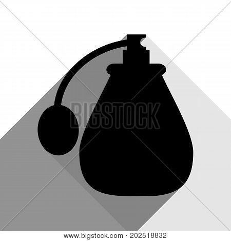 Vector black perfume icon set. Perfume Icon Object, Perfume Icon Picture. Vector. Black icon with two flat gray shadows on white background.