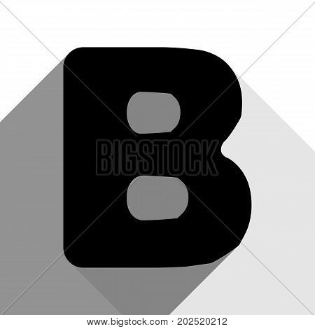 Letter B sign design template element. Vector. Black icon with two flat gray shadows on white background.