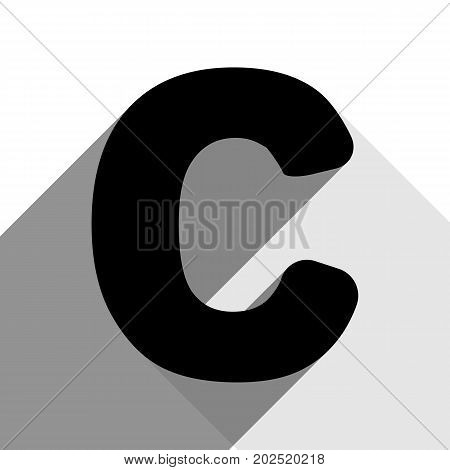 Letter C sign design template element. Vector. Black icon with two flat gray shadows on white background.