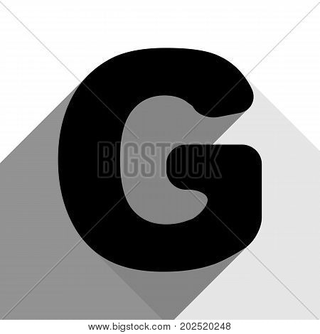 Letter G sign design template element. Vector. Black icon with two flat gray shadows on white background.