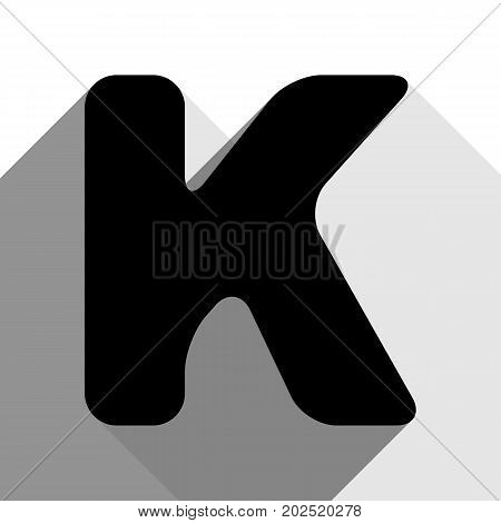 Letter K sign design template element. Vector. Black icon with two flat gray shadows on white background.