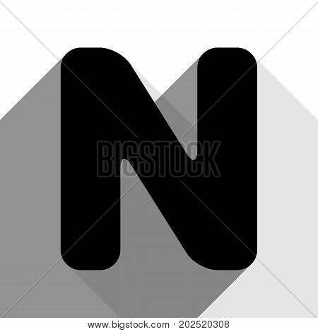 Letter N sign design template element. Vector. Black icon with two flat gray shadows on white background.