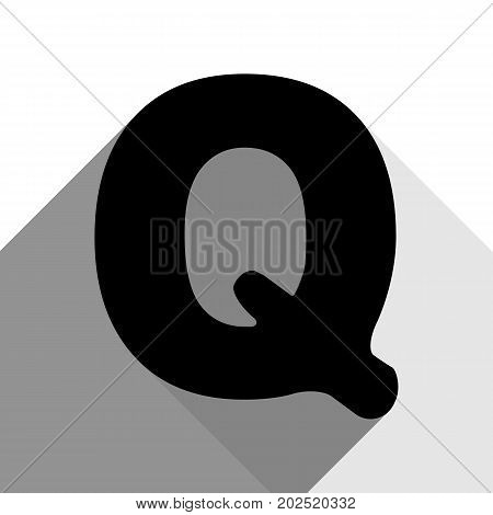 Letter Q sign design template element. Vector. Black icon with two flat gray shadows on white background.