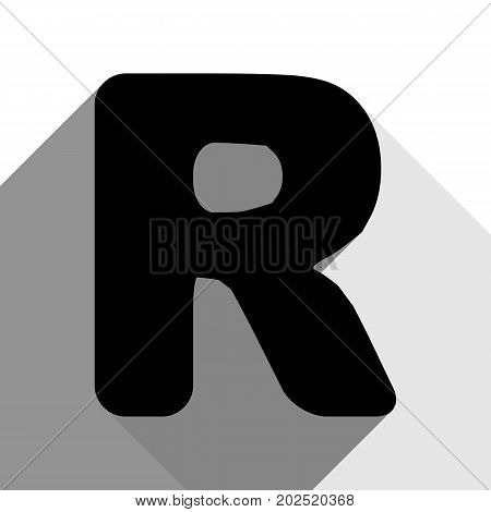 Letter R sign design template element. Vector. Black icon with two flat gray shadows on white background.