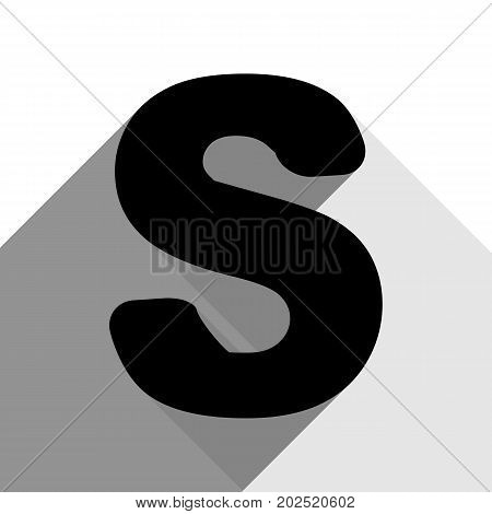 Letter S sign design template element. Vector. Black icon with two flat gray shadows on white background.