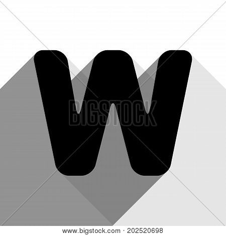Letter W sign design template element. Vector. Black icon with two flat gray shadows on white background.