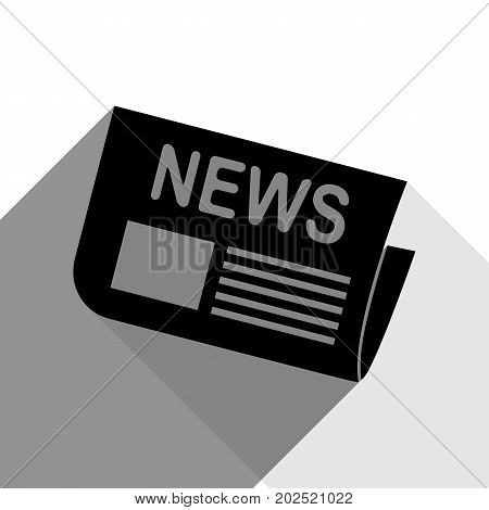 Newspaper sign. Vector. Black icon with two flat gray shadows on white background.