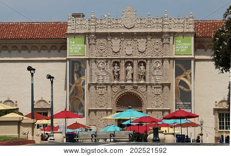 San Diego, California - August 31, 2017: The ornate facade of the San Diego Museum of Art in Balboa Park as viewed from the Plaza of Panama.