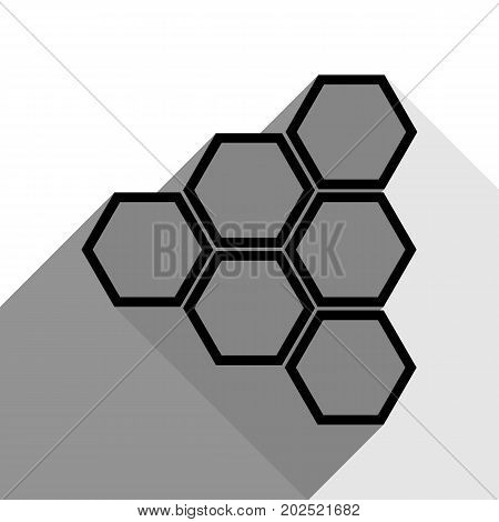 Honeycomb sign. Vector. Black icon with two flat gray shadows on white background.