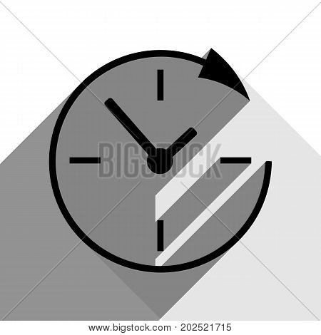 Service and support for customers around the clock and 24 hours. Vector. Black icon with two flat gray shadows on white background.
