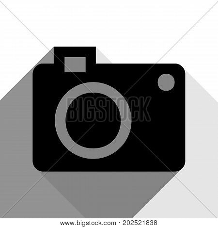 Digital camera sign. Vector. Black icon with two flat gray shadows on white background.