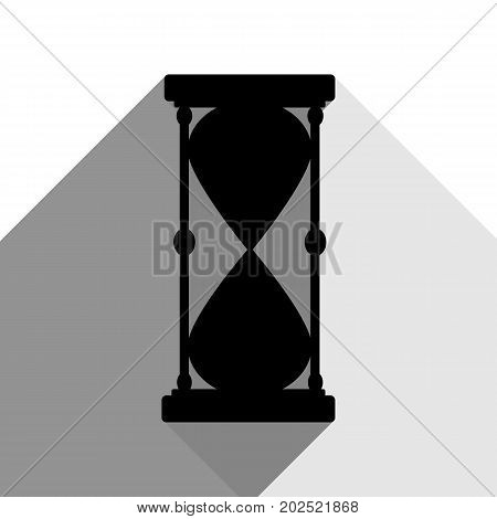 Hourglass sign illustration. Vector. Black icon with two flat gray shadows on white background.