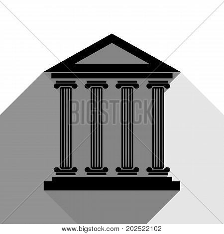 Historical building illustration. Vector. Black icon with two flat gray shadows on white background.