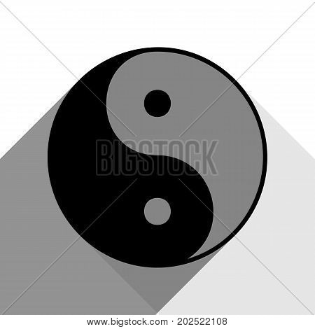 Ying yang symbol of harmony and balance. Vector. Black icon with two flat gray shadows on white background.