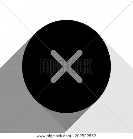 Cross sign illustration. Vector. Black icon with two flat gray shadows on white background.