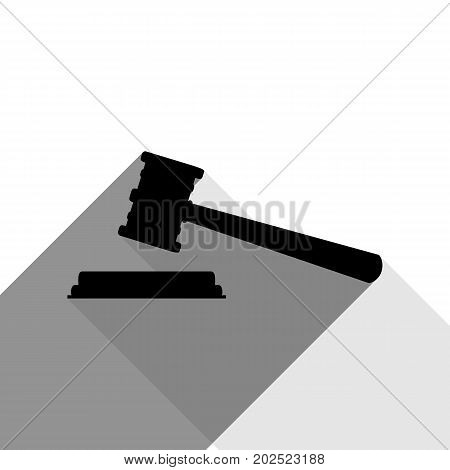 Justice hammer sign. Vector. Black icon with two flat gray shadows on white background.