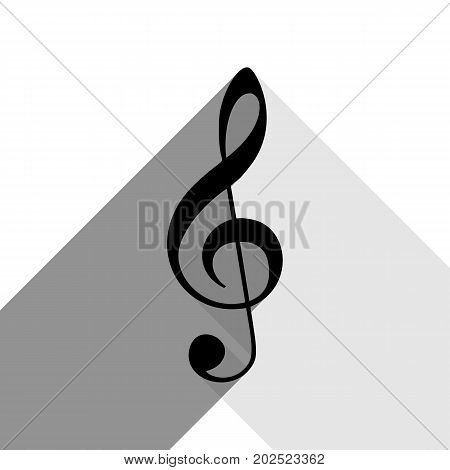 Music sign. G-clef. Treble clef. Vector. Black icon with two flat gray shadows on white background.