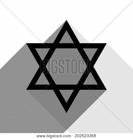 Shield Magen David Star. Symbol of Israel. Vector. Black icon with two flat gray shadows on white background.