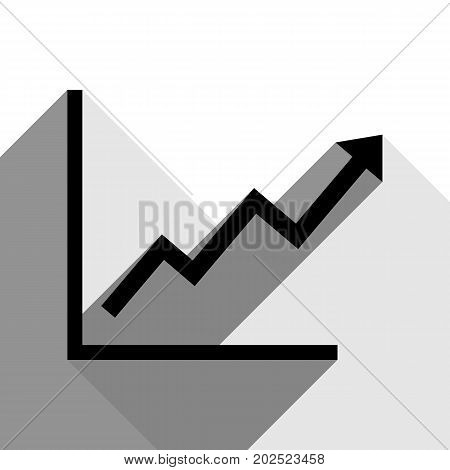 Growing bars graphic sign. Vector. Black icon with two flat gray shadows on white background.