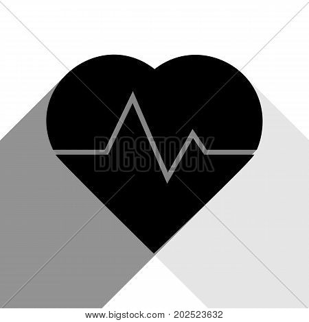 Heartbeat sign illustration. Vector. Black icon with two flat gray shadows on white background.