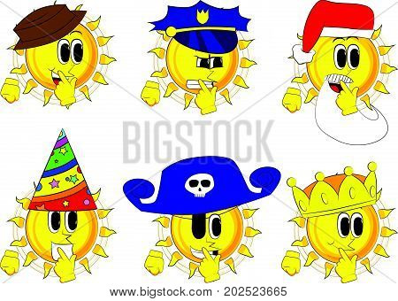 Cartoon sun holding finger front of his mouth. Collection with costume. Expressions vector set.
