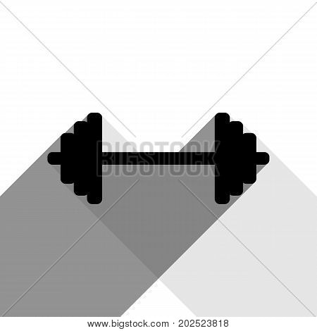 Dumbbell weights sign. Vector. Black icon with two flat gray shadows on white background.