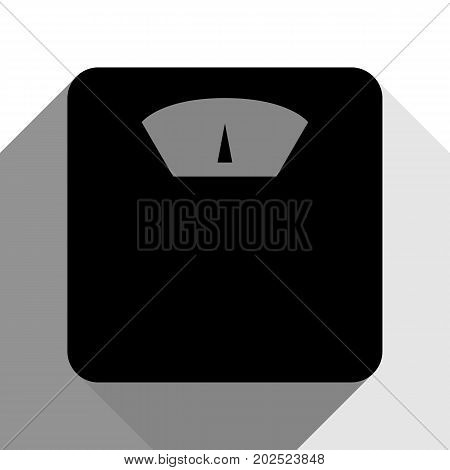 Bathroom scale sign. Vector. Black icon with two flat gray shadows on white background.