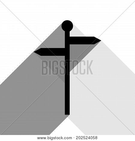 Direction road sign. Vector. Black icon with two flat gray shadows on white background.