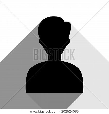User avatar illustration. Anonymous sign. Vector. Black icon with two flat gray shadows on white background.