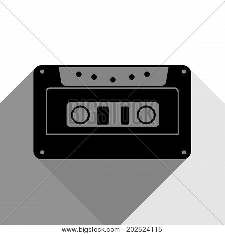 Cassette icon, audio tape sign. Vector. Black icon with two flat gray shadows on white background.