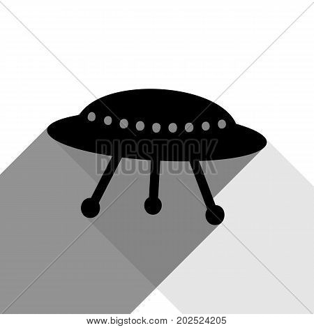 UFO simple sign. Vector. Black icon with two flat gray shadows on white background.