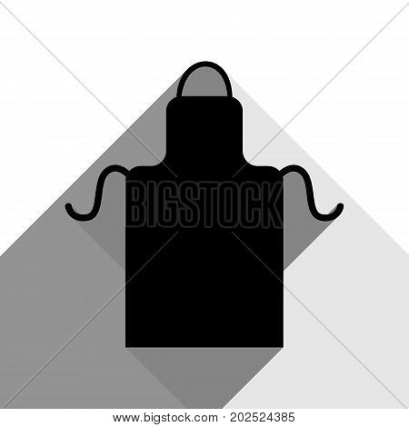 Apron simple sign. Vector. Black icon with two flat gray shadows on white background.