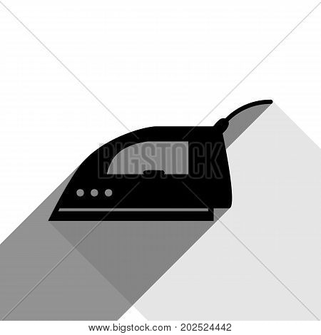 Smoothing Iron sign. Vector. Black icon with two flat gray shadows on white background.