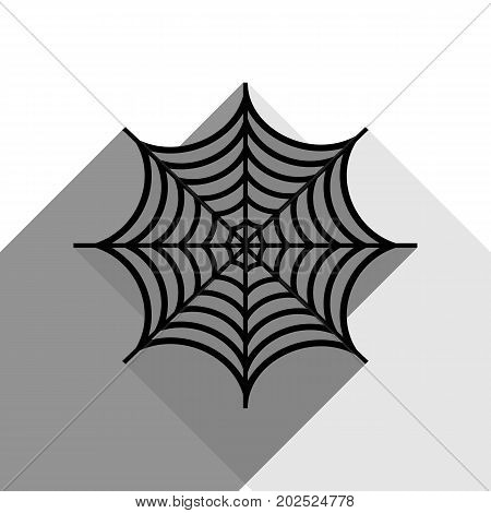 web illustration. Vector. Black spiderweb icon with two flat gray shadows on white background.