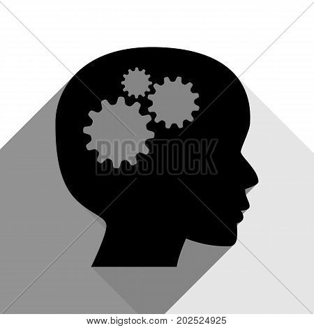 Thinking head sign. Vector. Black icon with two flat gray shadows on white background.