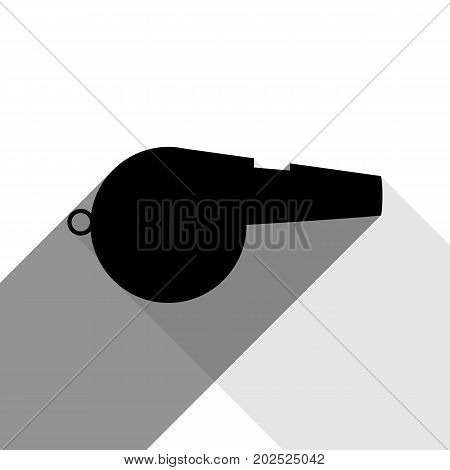 Whistle sign. Vector. Black icon with two flat gray shadows on white background.