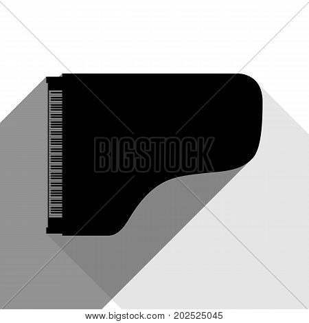 Concert grand piano sign. Vector. Black icon with two flat gray shadows on white background.