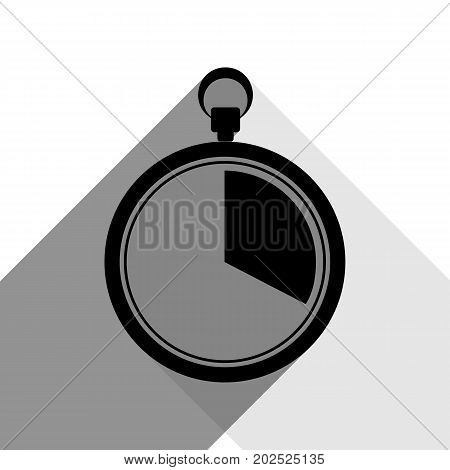 The 20 seconds, minutes stopwatch sign. Vector. Black icon with two flat gray shadows on white background.
