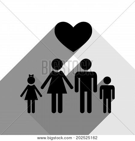 Family symbol with heart. Husband and wife are kept children's hands. Love. Vector. Black icon with two flat gray shadows on white background.