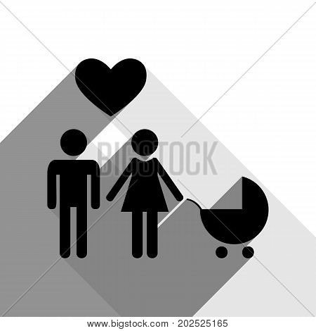 Family symbol with pram and heart. Husband and wife are kept each other's hands. Love. Vector. Black icon with two flat gray shadows on white background.