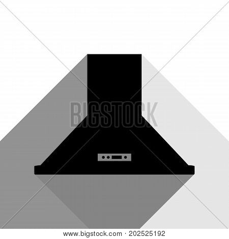 Exhaust hood. Kitchen ventilation sign. Vector. Black icon with two flat gray shadows on white background.
