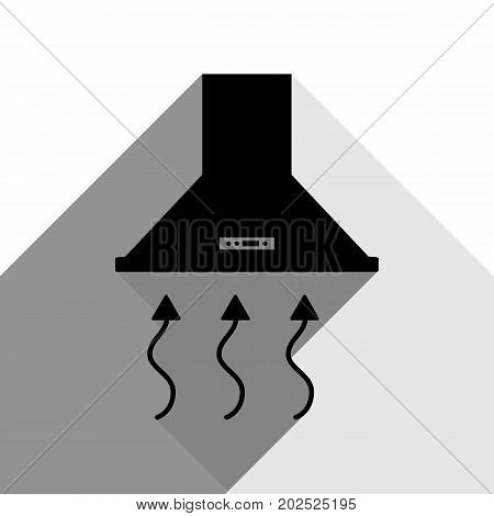 Exhaust hood. Range hood. Kitchen ventilation sign. Vector. Black icon with two flat gray shadows on white background.