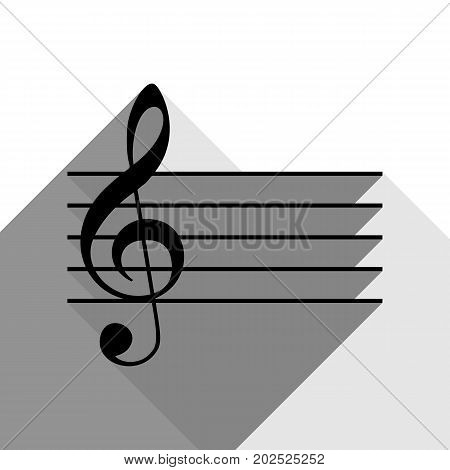 Music clef sign. G-clef. Vector. Black icon with two flat gray shadows on white background.